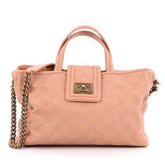 Chanel Boy Shopping Tote Embossed Calfskin Large pink
