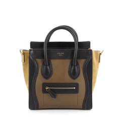 Celine Bicolor Luggage Handbag Smooth Leather Nano black