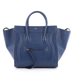 Celine Phantom Handbag Grainy Leather Medium Blue