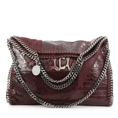 Stella McCartney Falabella Fold Over Bag Patchwork Faux Exotics purple