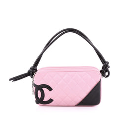 Chanel Cambon Pochette Quilted Leather pink