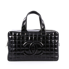 Chanel Chocolate Bar CC Bowler Bag Quilted Patent Large Black