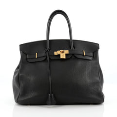 Hermes Birkin Handbag Black Clemence with Gold Hardware 35 Black