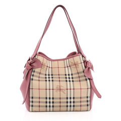 Burberry Canterbury Bow Tote Haymarket Coated Canvas and Leather Small Pink