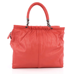 Bottega Veneta Chain Frame Shoulder Bag Leather Large Red