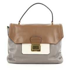Miu Miu Convertible Flap Top Handle Bag Vitello Soft Medium Gray