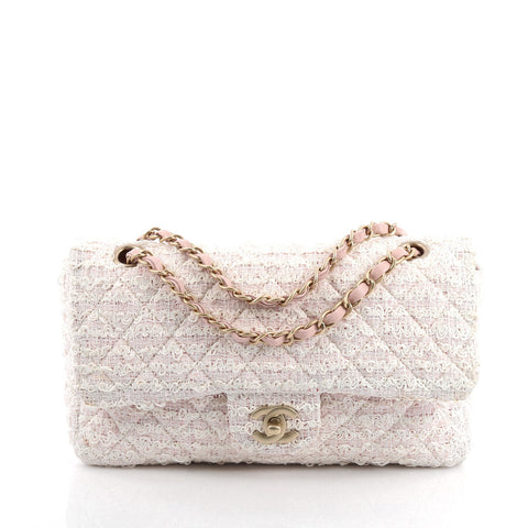 16be98e355f270 Buy Chanel Classic Double Flap Bag Quilted Tweed Medium Pink 1600702 – Rebag