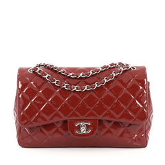 Chanel Classic Double Flap Bag Quilted Patent Jumbo Red
