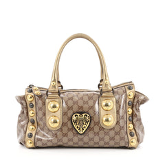 Gucci Babouska Heart Zip Satchel GG Coated Canvas Medium Brown