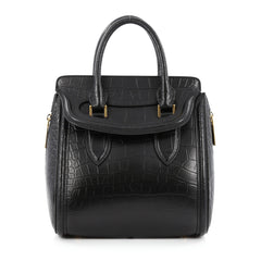 Alexander McQueen Heroine Tote Crocodile Embossed Leather Medium