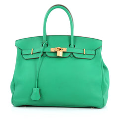 Hermes Birkin Handbag Green Clemence with Gold Hardware 35