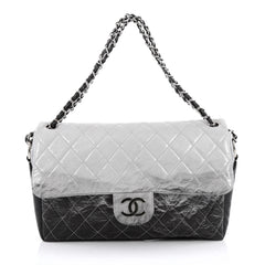 Chanel Melrose Degrade Flap Bag Quilted Patent Jumbo black
