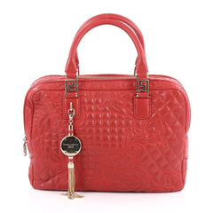 Versace Vanitas Zip Satchel Barocco Leather Large Red