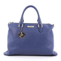Versace Convertible Boston Bag Vitello Stampa Alce Large Blue