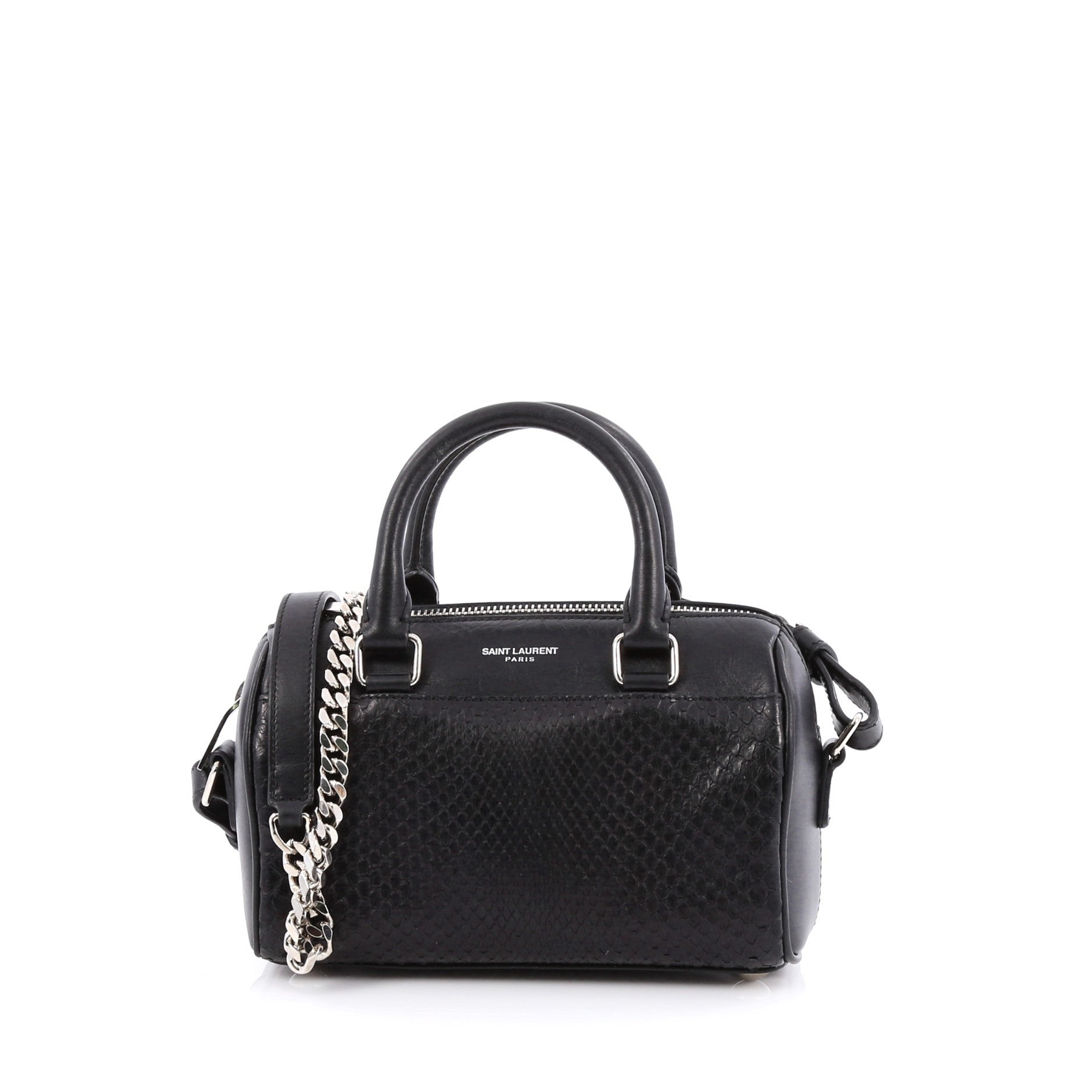 Saint Laurent Classic Duffle Toy Bag Python Embossed Leather