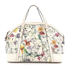 Gucci Nice Top Handle Bag Floral Canvas with Leather Medium