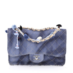 Chanel Limited Edition Pom Pom Flap Bag Printed Denim Jumbo