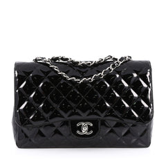 Chanel Classic Single Flap Bag Quilted Patent Jumbo