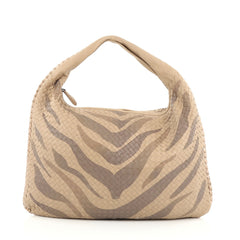Bottega Veneta Veneta Hobo Printed Intrecciato Nappa Maxi neutral
