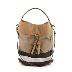 Burberry Susanna Tassel Hobo House Check Canvas Medium Brown