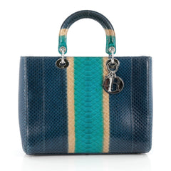 Christian Dior Lady Dior Handbag Python Large Blue