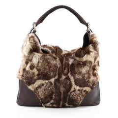 Gucci Signoria Hobo Fur with Leather Large brown
