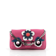 Fendi Monster Baguette Leather and Fur Micro Pink