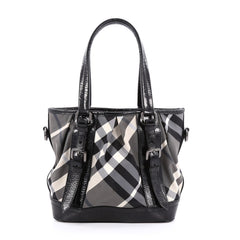 Burberry Lowry Convertible Tote Beat Check Nylon Medium Gray