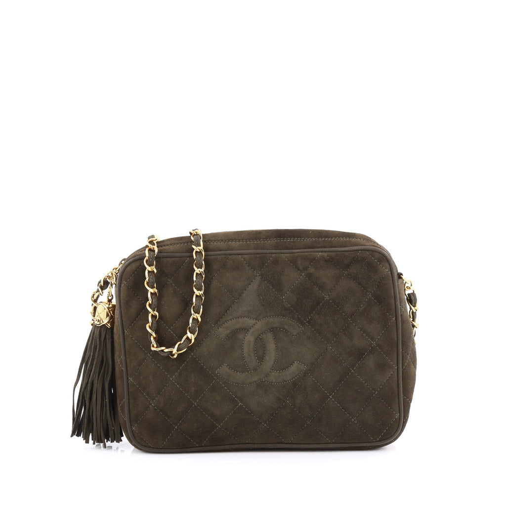 eb3a070e0d Vintage Chanel dark green camera bag with tassel t
