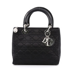 Christian Dior Vintage Lady Dior Handbag Cannage Quilt Satin Medium Black