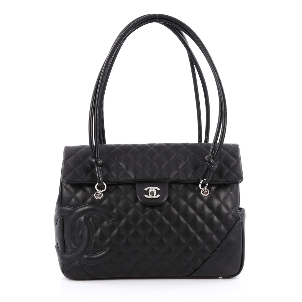af46176f1de4 Chanel Cambon Flap Tote. Buy Chanel Cambon Flap Tote Quilted Leather Large  Black ...