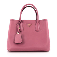 Prada Cuir Double Tote Saffiano Leather Medium Pink