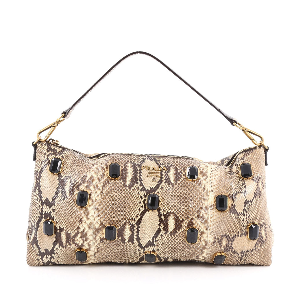 0f964b00aef9 Buy Prada Pietre Shoulder Bag Embellished Python Large Brown 1638802 ...