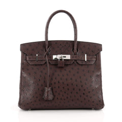 Hermes Birkin Handbag Brown Ostrich with Palladium Hardware 30 Brown