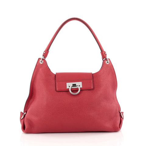 ca0d91a4ce Buy Salvatore Ferragamo Fanisa Hobo Leather Medium Red 1645002 – Rebag