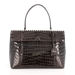 Bottega Veneta Tie-Dye Tiina Bag Crocodile Large Brown