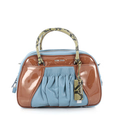Miu Miu Convertible Top Handle Bag Mixed Media Leather Small blue