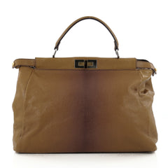 Fendi Peekaboo Handbag Leather with Calf Hair Interior Large Brown