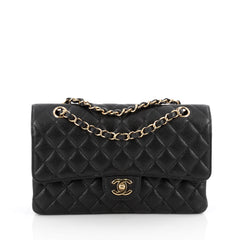 Chanel Classic Double Flap Bag Quilted Caviar Medium Black