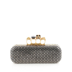 Alexander McQueen Knuckle Box Clutch Studded Leather Long