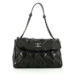 Chanel In and Out Flap Bag Quilted Lambskin Maxi Black