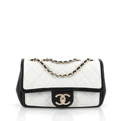 Chanel Graphic Flap Bag Quilted Calfskin Small White