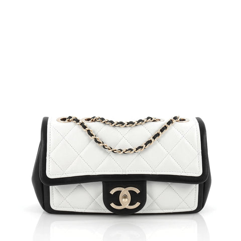 2da31760b12942 Buy Chanel Graphic Flap Bag Quilted Calfskin Small White 1658901 – Rebag