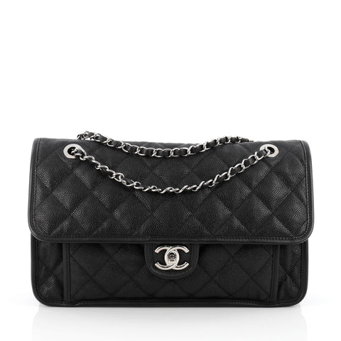 ef0853a368 Buy Chanel French Riviera Flap Bag Quilted Caviar Large 1661901 – Rebag