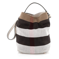 Burberry Ashby Handbag Mega Check Canvas Medium White