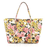 Dolce & Gabbana Miss Escape Open Tote Printed Saffiano Leather Yellow