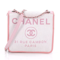 Chanel Deauville Messenger Bag Canvas Small Pink