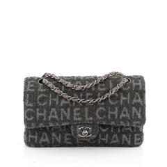 Chanel Classic Double Flap Bag Printed Quilted Tweed Medium green