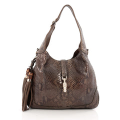 Gucci New Jackie Handbag Python Medium brown