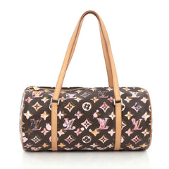 Louis Vuitton Papillon Handbag Limited Edition Aquarelle Monogram Canvas 30 brown